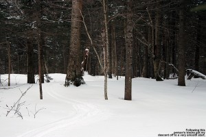 An image of ski tracks in powder descending from the North Slope trail on the Nordic & Backcountry network at Bolton Valley Resort in Vermont