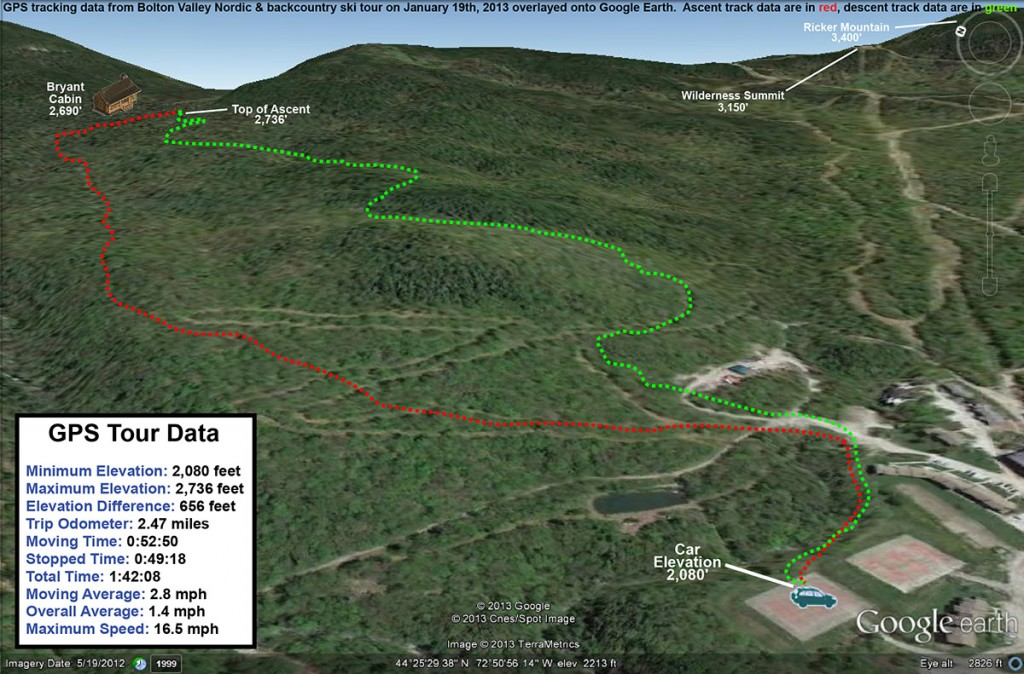 A GPS map on Google Earth showing a ski tour taken on January 19th, 2013 using the Nordic and backcountry ski network at Bolton Valley Resort in Vermont