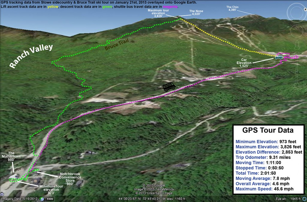 A Google Earth GPS track showing a ski tour on the Bruce trail near Stowe Mountain Resort in Vermont