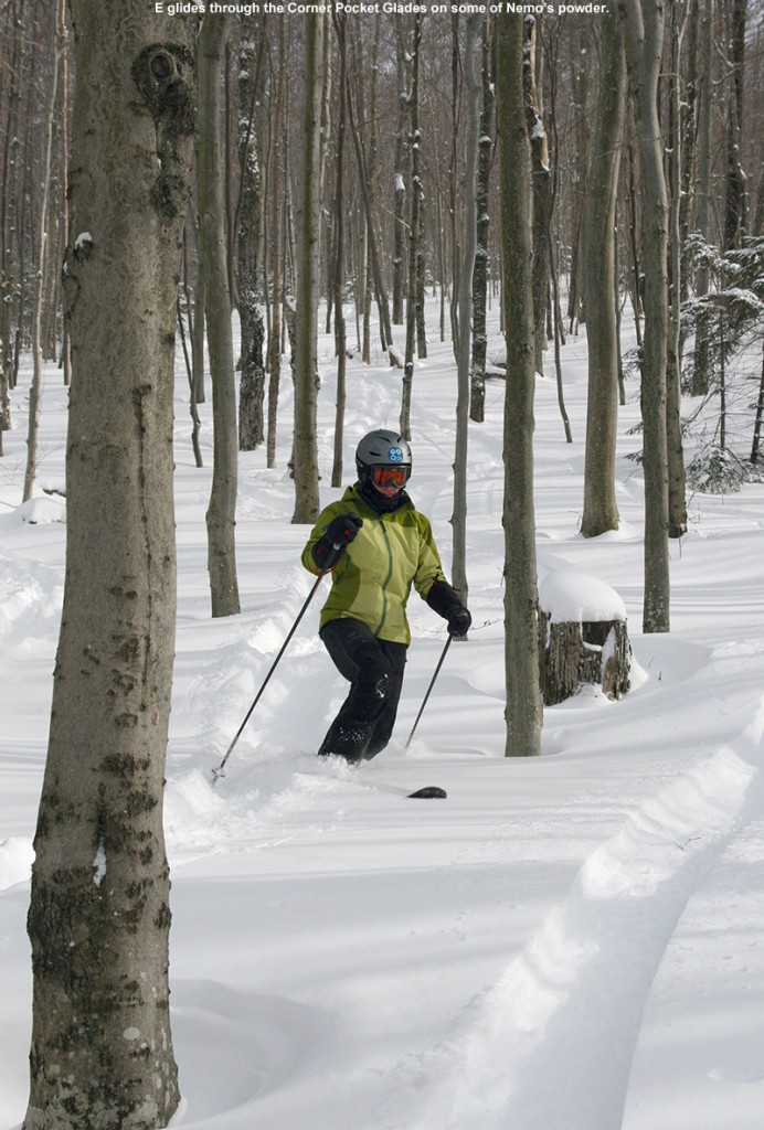 An image of Erica Telemark skiing in powder in the Corner Pocket Glades at Bolton Valley Resort in Vermont