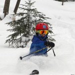 An image of Dylan skiing powder in the KP Glades at Bolton Valley Resort in Vermont after winter storm Nemo hit the area