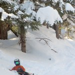 An image of Ty sitting in the powder in the Nosedive Glades at Stowe Mountain Ski Resort in Vermont