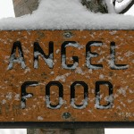 An image of the sign for the Angel Food trail in the sidecountry ski terrain at Stowe Mountain Resort in Vermont