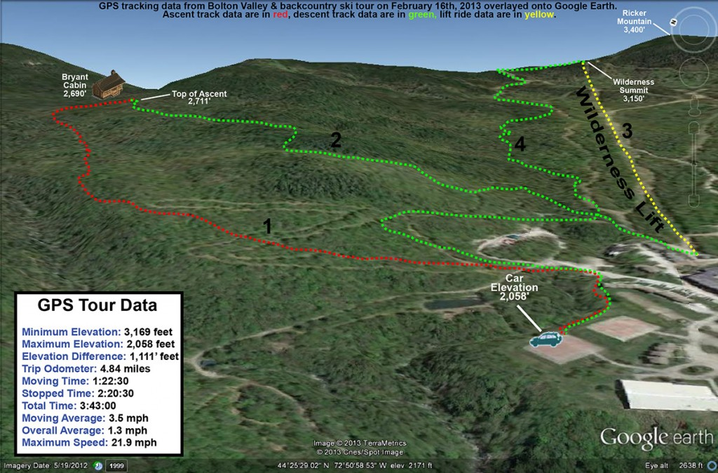 An image of a Google Earth map showing the GPS track of a ski tour on the alpine, Nordic, and backcountry areas at Bolton Valley Resort in Vermont on February 16th, 2013