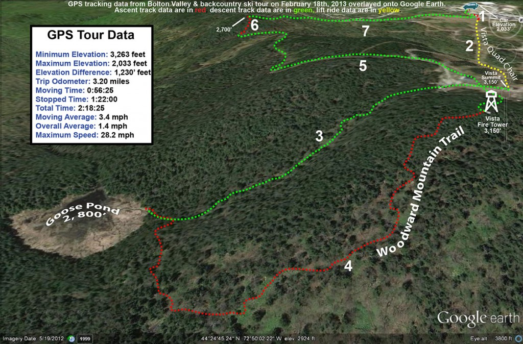 A Google Earth map showing the GPS track for a ski tour of Bolton Valley Resort in Vermont and the nearby backcountry on February 18th, 2013