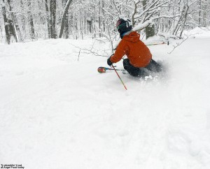 An image of Ty skiing in soft snow on Angel Food at Stowe Mountain Resort in Vermont.