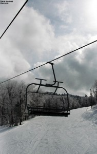 An image of one of the chairs of the Vista Quad Chairlift at Bolton Valley Ski Resort in Vermont