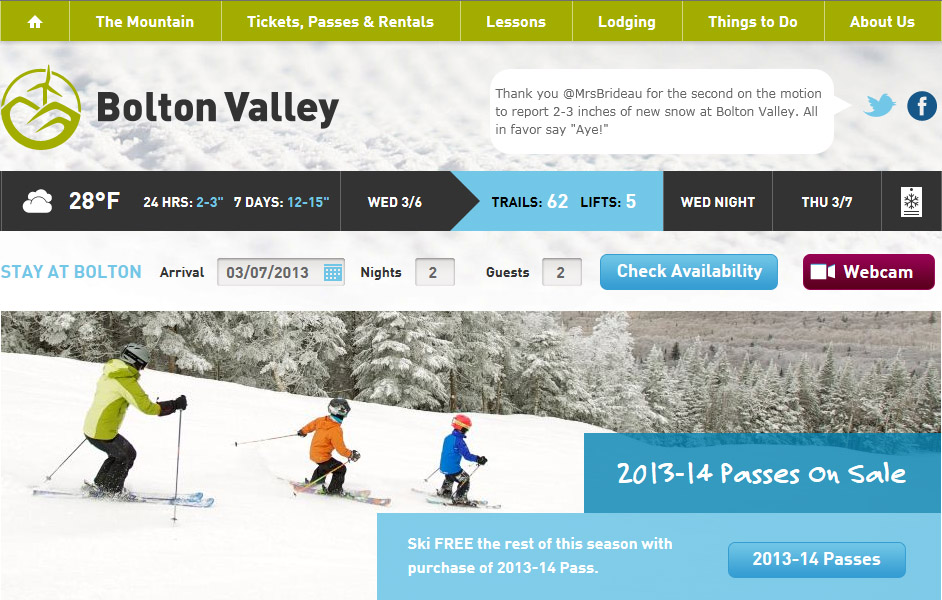 A screen shot from the homepage of Bolton Valley Ski Resort in Vermont showing an image of Erica, Ty, and Dylan skiing in a line.