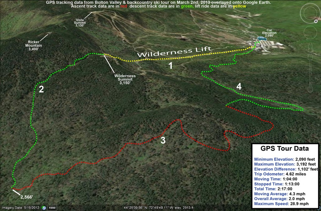 A Google Earth map with GPS tracking data from a front and backcountry ski tour at Bolton Valley Resort in Vermont on March 2nd, 2013