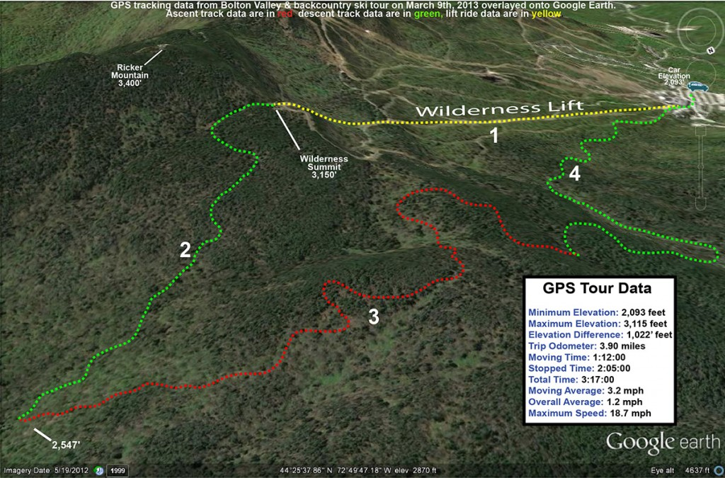 A Google Earth map with GPS tracking data from a front and backcountry ski tour at Bolton Valley Resort in Vermont on March 9th, 2013