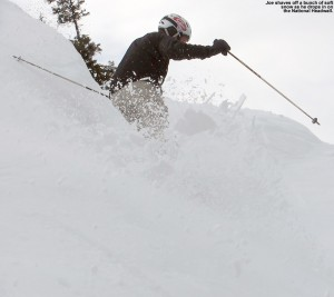 An image of Joe dropping into the steep headwall of the National Trail at Stowe Mountain Ski Resort in Vermont