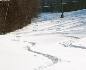 An image of ski tracks in powder snow on the Showtime trail at Bolton Valley Resort in Vermont