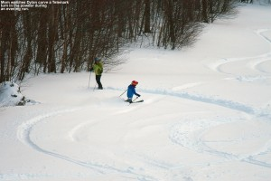 An image of Dylan making a Telemark turn in powder snow while E looks on at Bolton Valley Ski Resort in Vermont
