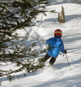 An image of Dylan skiing some spring snow in the Villager Trees at Bolton Valley Resort in Vermont