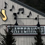 An image of the sign on the side of the Matterhorn bar and restaurant in Stowe, Vermont