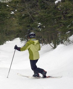 An image of Erica Telemark skiing on the Bruce Trail near Stowe Mountain Resort in Vermont