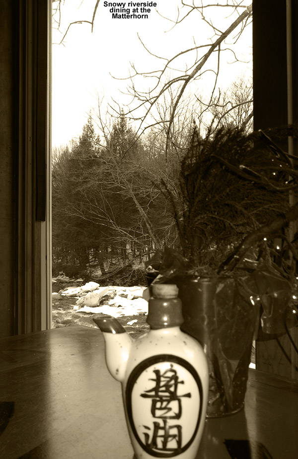An image from a table along the Ranch Brook at the Matterhorn Restaurant in Stowe, Vermont