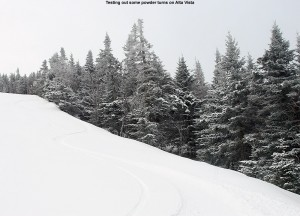 An image of ski tracks in powder snow on the Alta Vista trail at Bolton Valley Resort in Vermont