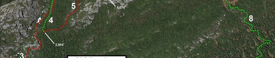 A Google Earth/GPS plot showing the route of my tour in the Chin Area of Mt. Mansfield