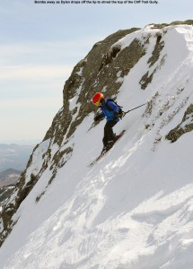 An image of Dylan dropping into a steep line on his skis in the Cliff Trail Gully in the alpine terrain above Stowe Mountain Ski Resort in Vermont