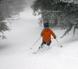An image of Ty skiing in the Bypass area of Stowe Mountain Resort in Vermont