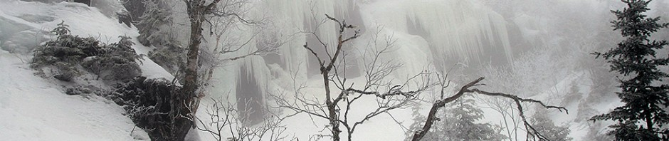 An image of some ice waterfalls up ini the area of the Bypass Chutes at Stowe Mountain Ski Resort in Vermont