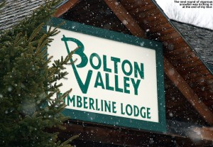 An iamge of the Timberline Lodge sign at Bolton Valley Ski Resort in Vermont