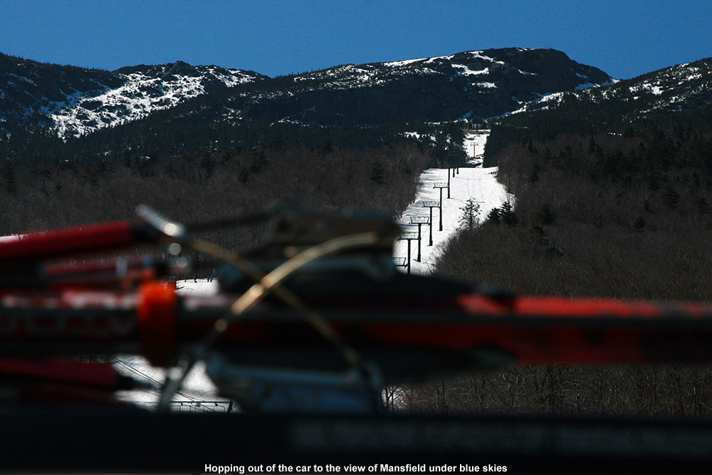 An image of the Gondola area at Stowe Vermont below Mt. Mansfield from the Midway parking lot