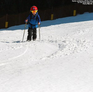 An image of Dylan hiking on the snow on the Perry Merrill trail at Stowe Mountain Ski Resort in Vermont