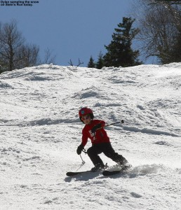 An image of Dylan skiing on Stein's Run at Sugarbush on spring snow in May