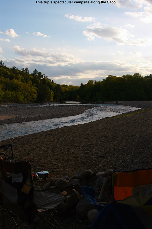 An image of a campsite along the Saco River at the Glen Ellis Family Campground in New Hampshire