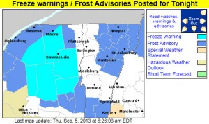 A map from the National Weather Service Office in Burlington, Vermont outlining the first fall 2013 frost advisories and freeze warnings for parts of Northern New England and New York