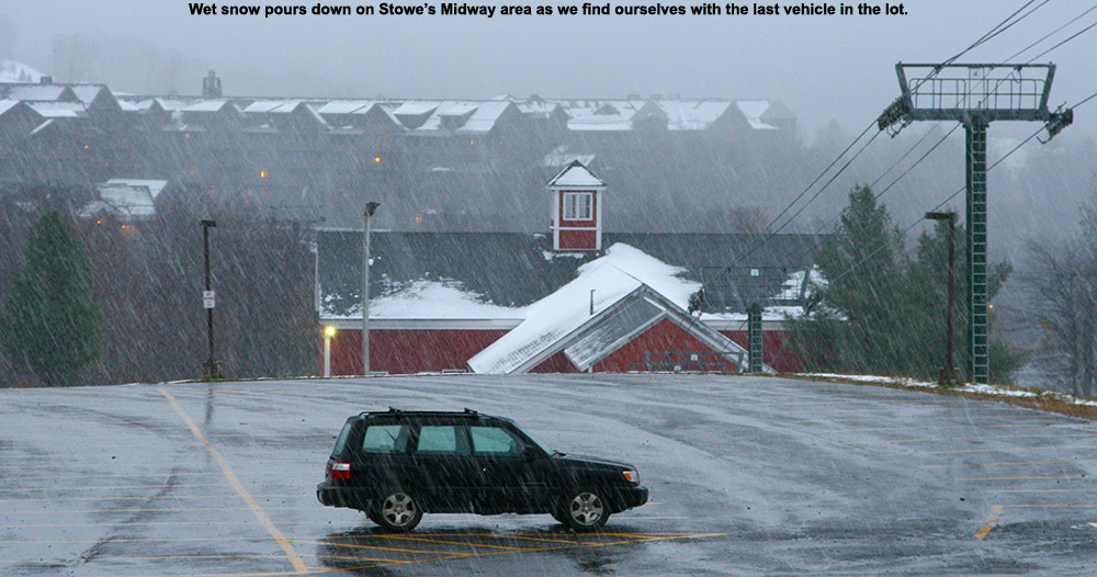 An image of heavy, wet snow falling near the Midway area at Stowe Mountain Resort in Vermont during an October storm