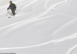Jay Telemark skiing in powder at Bolton Valley Resort in Vermont on a pair of Black Diamond AMPerage fat skis