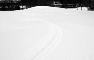 An image of ski tracks on the Lower North Slope trail at Stowe Mountain Resort in Vermont