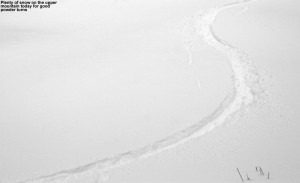 An image of a ski track in powder snow at Bolton Valley Resort in Vermont