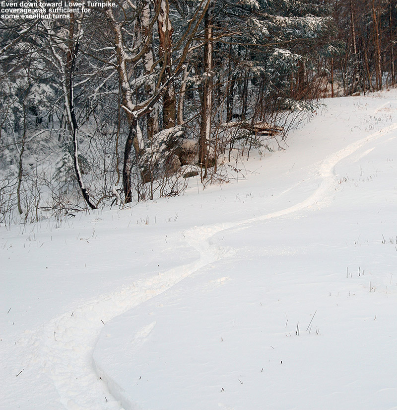 An image of a ski track in powder along the edge of the Turnpike trail at Bolton Valley after a November snowfall