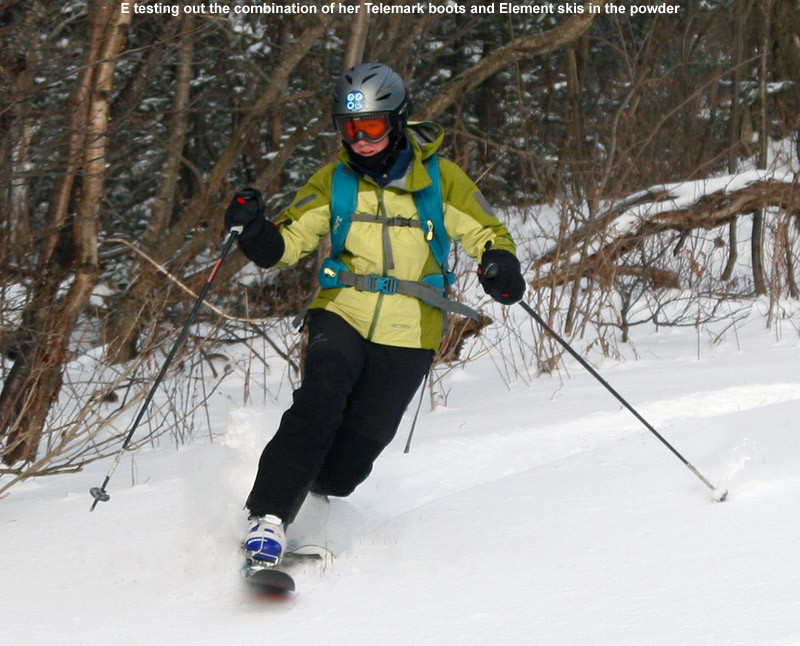 An image of Erica skiing in powder on the Cougar trail at Bolton Valley Resort in Vermont