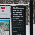 An image of the status board for the chain lifts at Stowe Mountain Ski Resort in Vermont