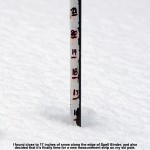 An image showing a snow depth of 17 inches along the skier's left of the Spell Binder trail at Bolton Valley Ski Resort in Vermont