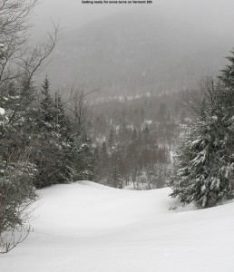 An image looking down the Vermont 200 trail filled with powder at Bolton Valley Ski Resort in Vermont