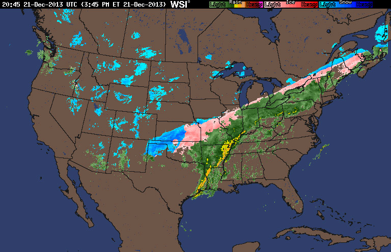 An image of a national radar map showing a long frontal boundary spread across the United States