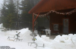 An image of the mid mountain operations building with holiday decorations at Bolton Valley Ski Resort in Vermont