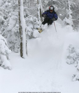 An image of Jay jumping into deep powder on the Duva Horn trail at Bolton Valley Ski Resort in Vermont