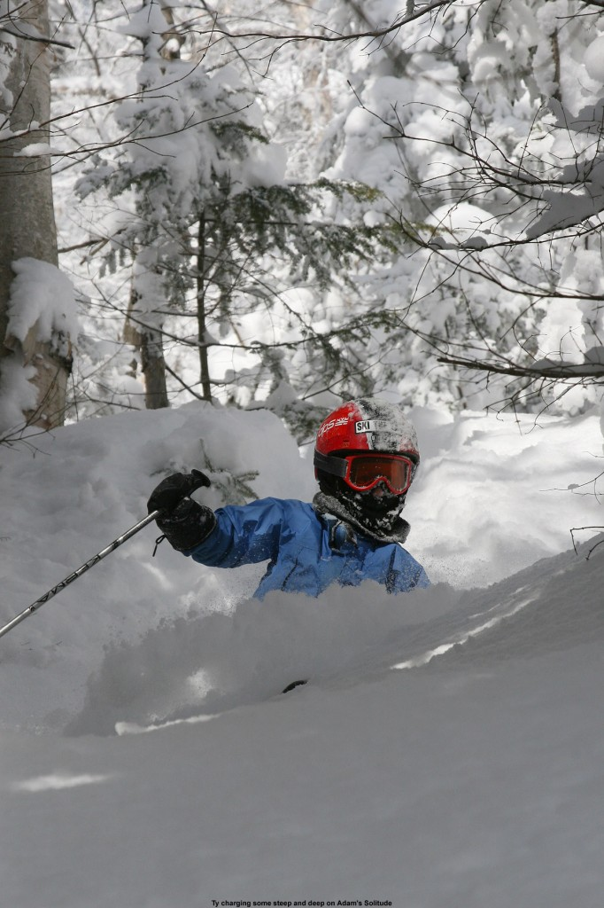 """An image of Ty skiing some of the incredibly light """"Champlain Powder"""" in Vermont on the Adam's Solitude trail at Bolton Valley Ski Resort"""