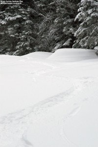 An image of ski tracks on the Peggy Dow's trail at Bolton Valley Ski Resort in Vermont