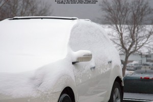 An image of a snow-covered car at Bolton Valley Ski Resort in Vermont