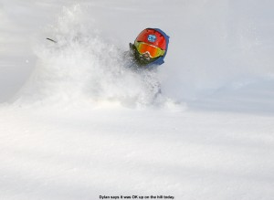 An image of Dylan skiing deep powder on the Cougar Trail at Bolton Valley Resort in Vermont