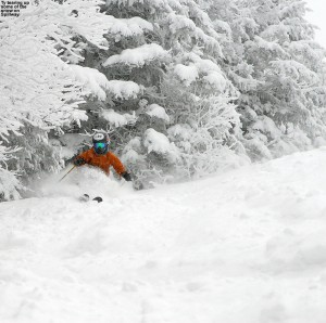 An image of Ty skiing the Spillway trail at Bolton Valley Resort in Vermont
