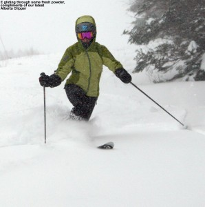 An image of Erica Telemark skiing on the Wilderness Lift Line at Bolton Valley Resort in Vermont